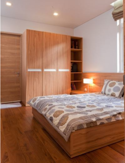 Phòng ngủ khách là một sự kết hợp giữa sàn gỗ Teak và Formica nhìn đơn giản mà vẫn toát lên vẻ sang trọng.