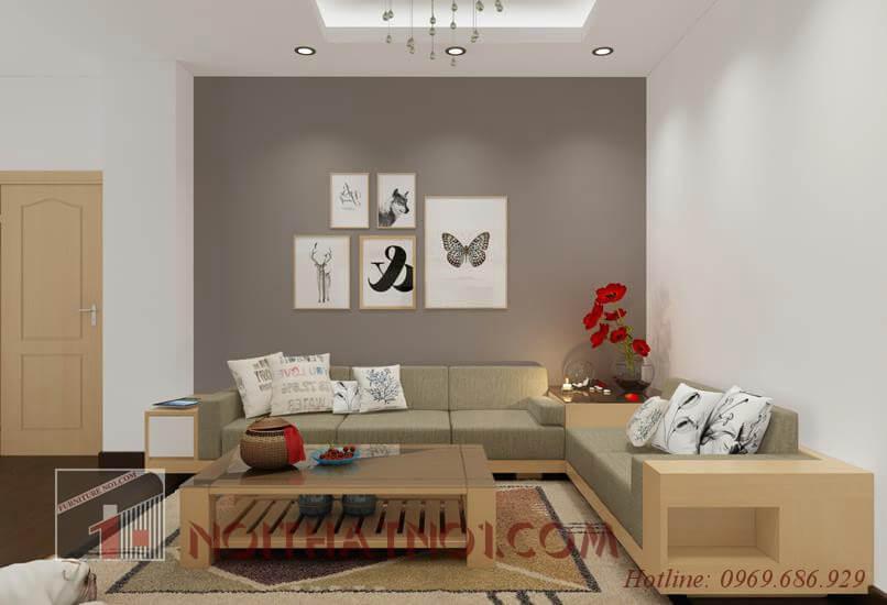 Thiết kế sofa gỗ góc phòng khách ấn tượng nhất