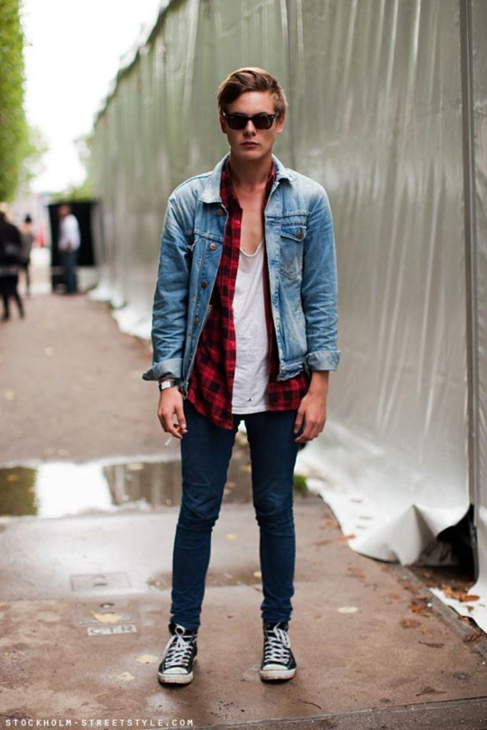 Sơ mi caro với phong cách layer thời trang