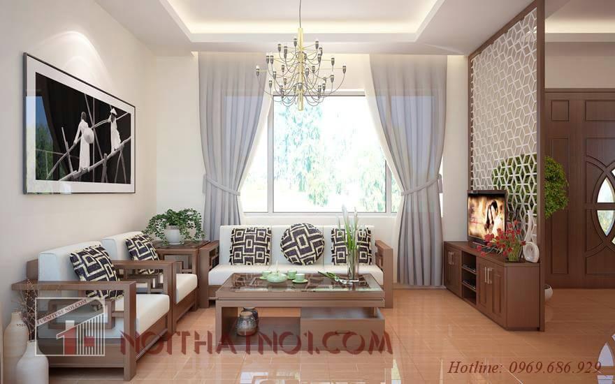 Sofa gỗ nhỏ gọn gỗ tự nhiên